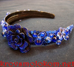 Как сделать праздничный (новогодний) синий ободок (обруч) своими руками для волос с бусинами. Мастер Класс. Фото