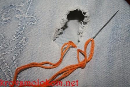 как красиво зашить джинсы